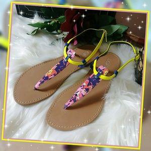 NWT Ann Taylor Loft Yellow Multi Thong Sandals
